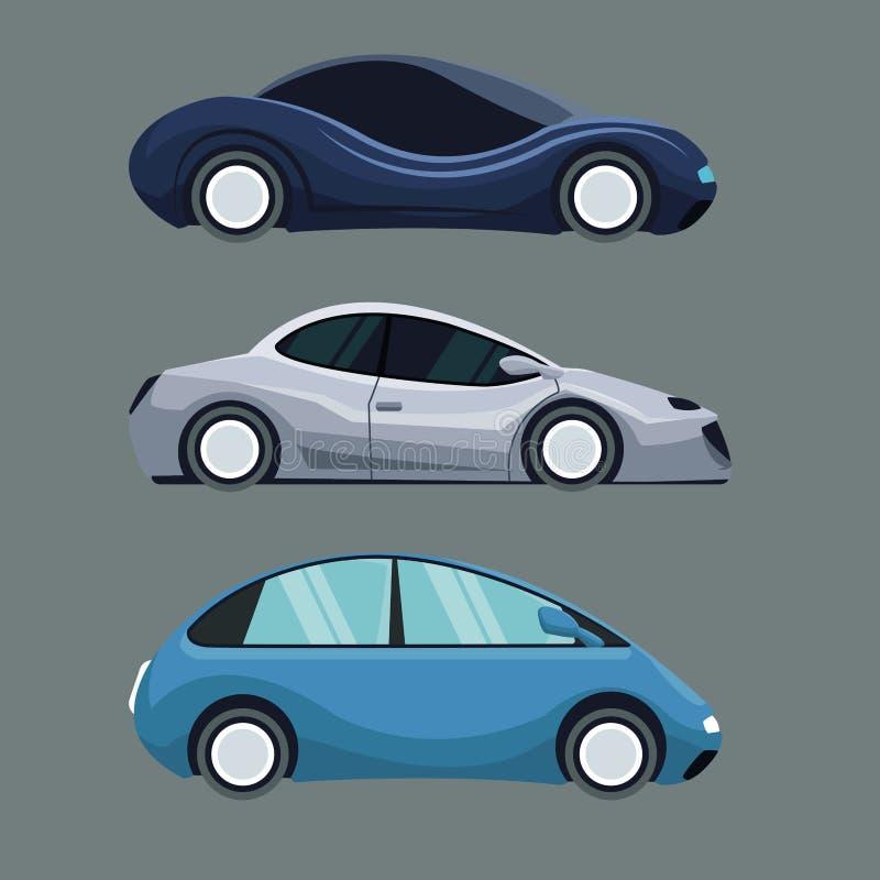 Γκρίζο υπόβαθρο του ζωηρόχρωμου οχήματος αυτοκινήτων συνόλου φουτουριστικού ελεύθερη απεικόνιση δικαιώματος