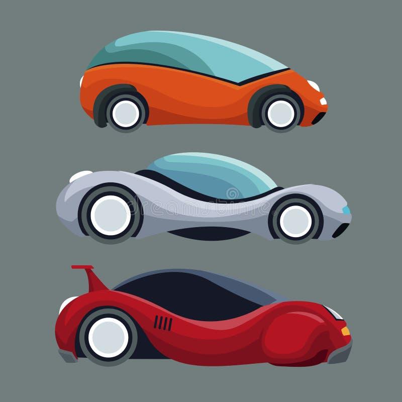 Γκρίζο υπόβαθρο των ζωηρόχρωμων οχημάτων αυτοκινήτων συνόλου φουτουριστικών σύγχρονων απεικόνιση αποθεμάτων