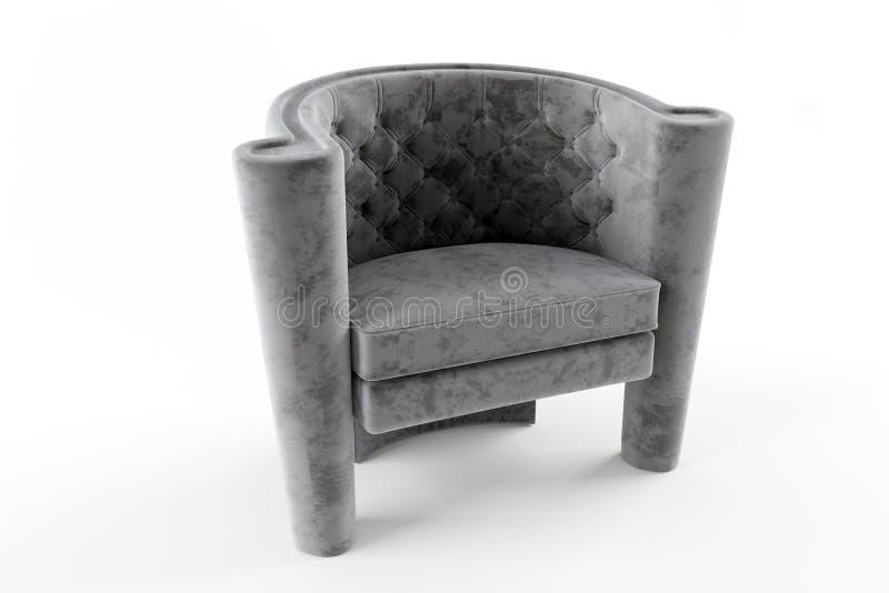 Γκρίζο ύφασμα Τσέστερφιλντ καρεκλών στοκ φωτογραφία με δικαίωμα ελεύθερης χρήσης