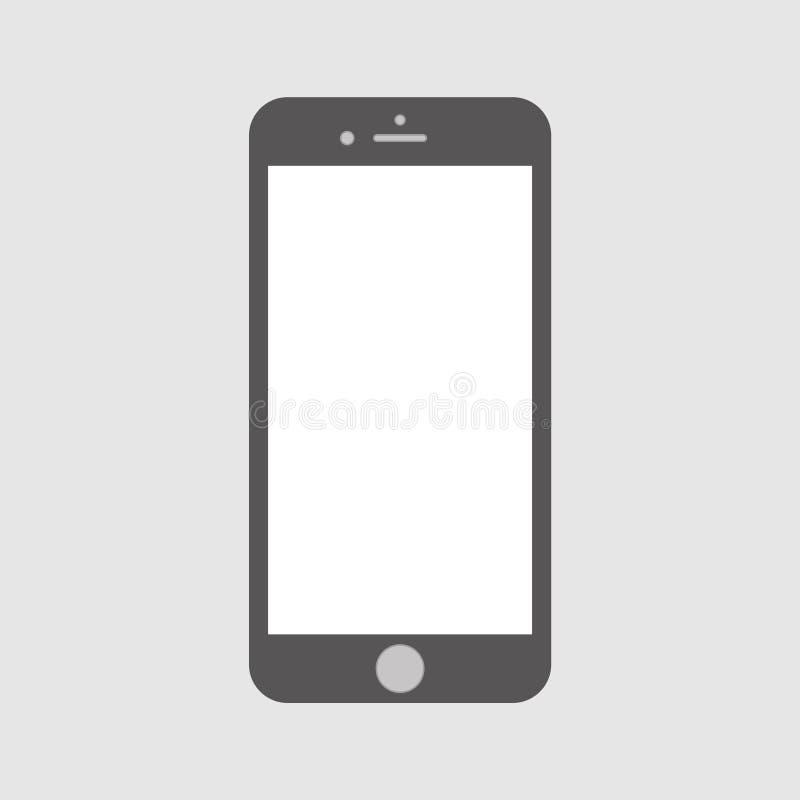 Γκρίζο smartphone με την κενή άσπρη οθόνη διανυσματικό eps10 Κλασικό smartphone για το εικονίδιο σχεδίου Ιστού απεικόνιση αποθεμάτων