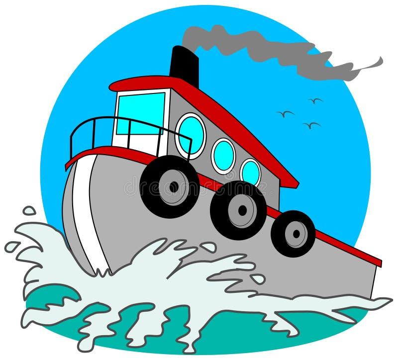 γκρίζο tugboat απεικόνιση αποθεμάτων