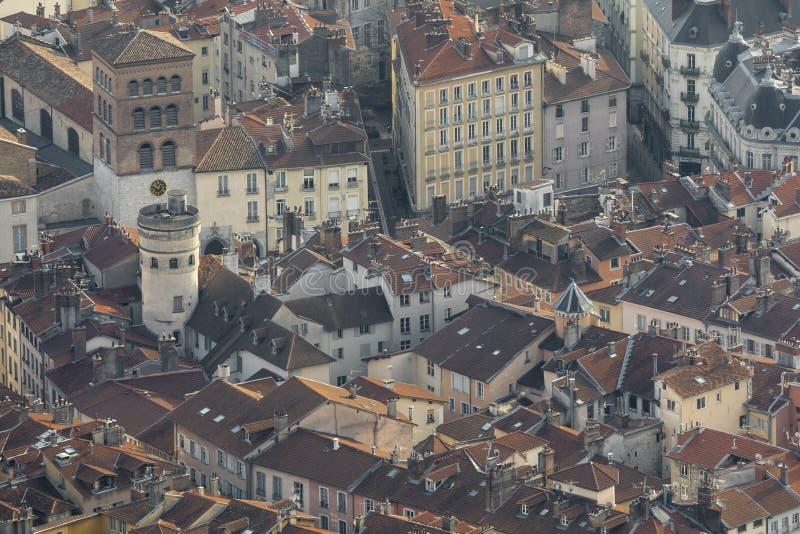 Γκρενόμπλ, Γαλλία, τον Ιανουάριο του 2019: Εναέρια γειτονιά κυρίας καθεδρικών ναών notre στοκ εικόνα