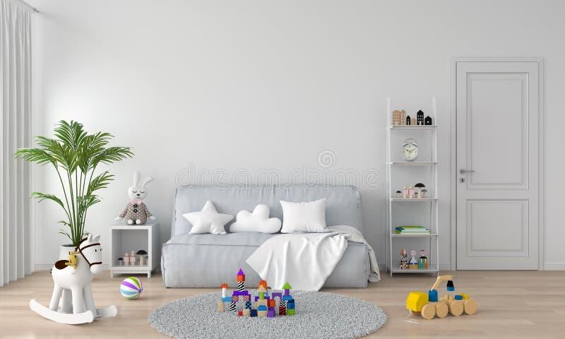 Γκρι καναπές στο εσωτερικό λευκού παιδικού δωματίου, απόδοση 3D ελεύθερη απεικόνιση δικαιώματος