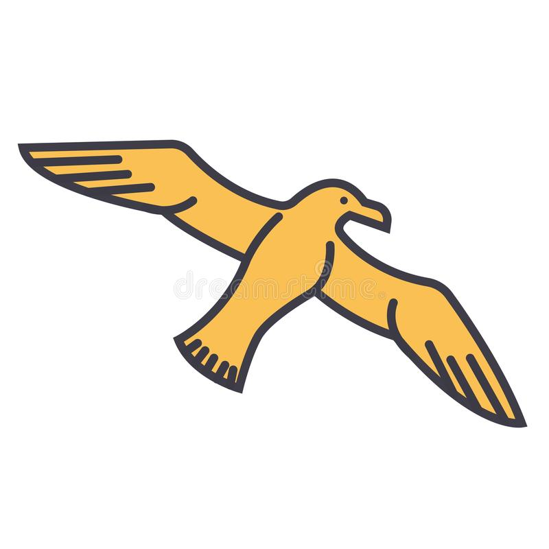 Γλάρος, seagull επίπεδη απεικόνιση γραμμών, απομονωμένο διάνυσμα εικονίδιο έννοιας διανυσματική απεικόνιση