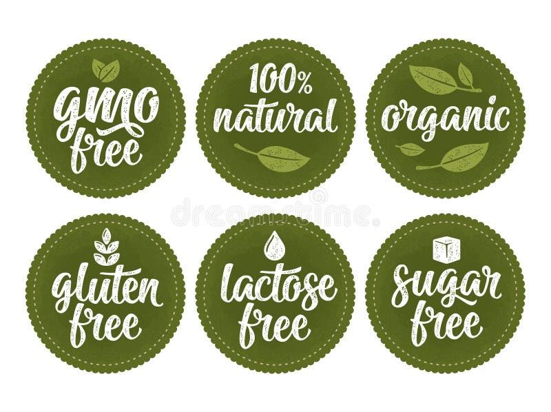 Γλουτένη, λακτόζη, ζάχαρη, ελεύθερη εγγραφή ΓΤΟ Σημάδι 100 φυσική οργανική τροφή ελεύθερη απεικόνιση δικαιώματος