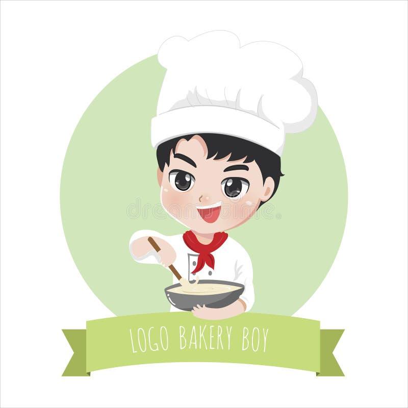 Γλυκά αγόρι και επιδόρπιο αρτοποιείων λογότυπων ελεύθερη απεικόνιση δικαιώματος