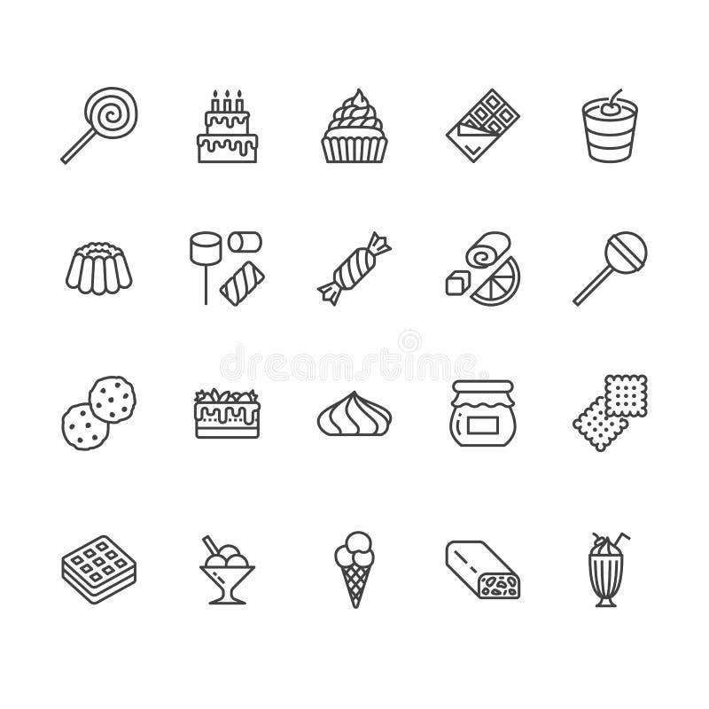 Γλυκά εικονίδια γραμμών τροφίμων επίπεδα καθορισμένα Διανυσματικές απεικονίσεις ζύμης lollipop, φραγμός σοκολάτας, milkshake, μπι απεικόνιση αποθεμάτων