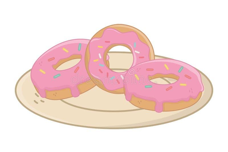 Γλυκά και εύγευστα donuts, σχέδιο διανυσματική απεικόνιση