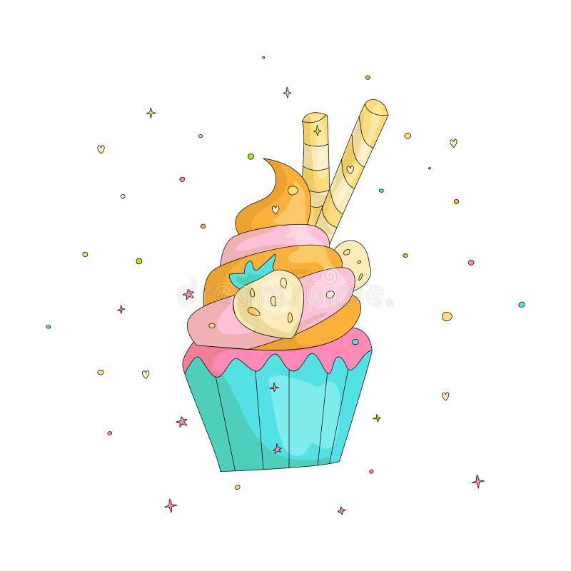 Γλυκά κινούμενα σχέδια διασκέδασης cupcake με το χρωματισμένο πάγωμα και τη φράουλα Εικονίδιο κινούμενων σχεδίων cupcake με τα στ απεικόνιση αποθεμάτων