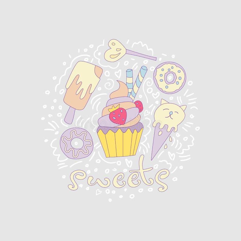 Γλυκά κινούμενα σχέδια διασκέδασης cupcake με το χρωματισμένο πάγωμα και τη φράουλα Εικονίδιο κινούμενων σχεδίων cupcake με τα στ ελεύθερη απεικόνιση δικαιώματος