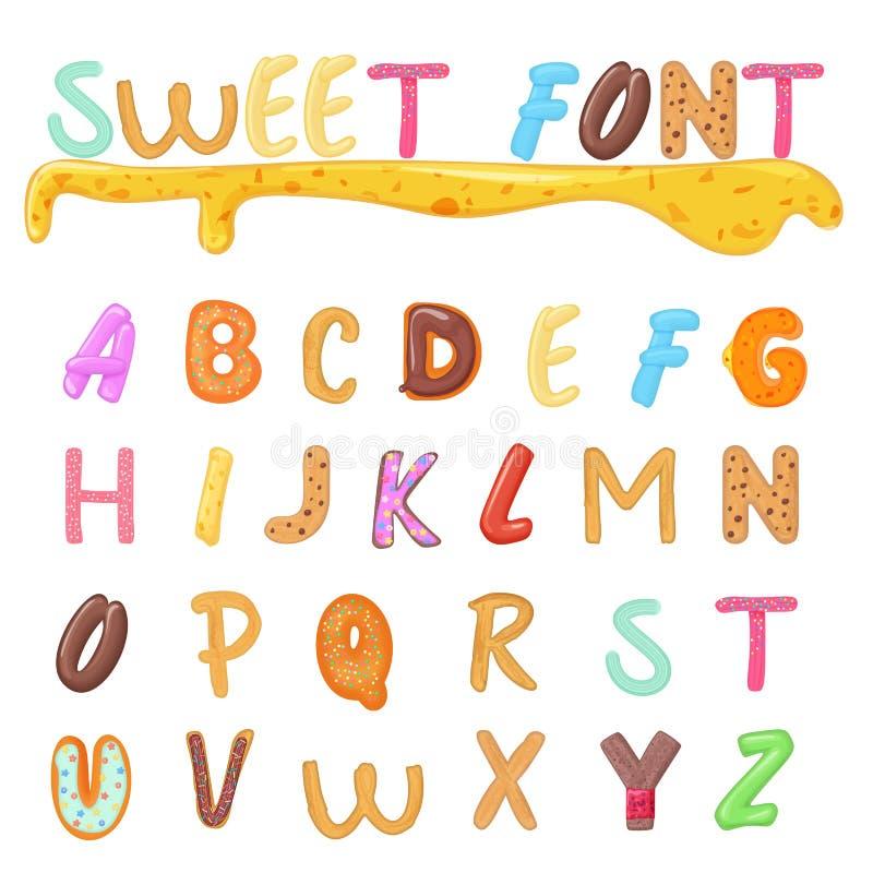 Γλυκά, μπισκότα και σχέδιο πηγών αρτοποιείων Αστείες επιστολές αλφάβητου ύφους παιδιών ελεύθερη απεικόνιση δικαιώματος