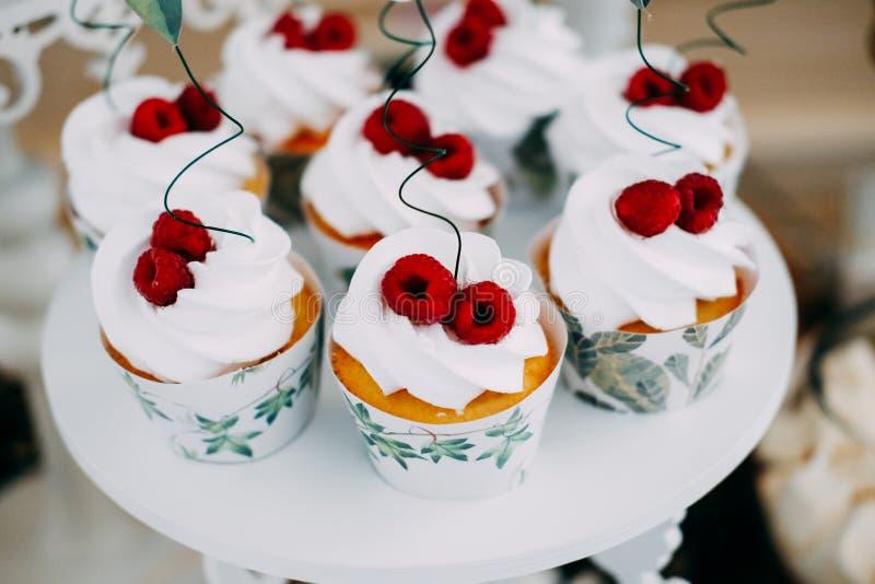 Γλυκά νόστιμα cupcakes την άσπρη τήξη που ολοκληρώνεται με με τα σμέουρα στοκ εικόνα