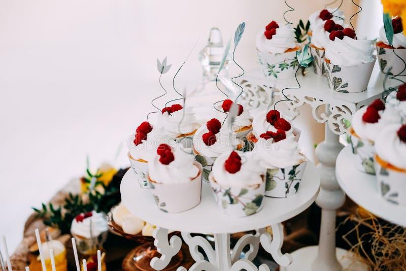 Γλυκά νόστιμα cupcakes την άσπρη τήξη που ολοκληρώνεται με με τα σμέουρα στοκ εικόνα με δικαίωμα ελεύθερης χρήσης
