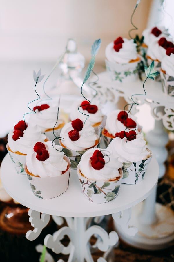 Γλυκά νόστιμα cupcakes την άσπρη τήξη που ολοκληρώνεται με με τα σμέουρα στοκ φωτογραφία με δικαίωμα ελεύθερης χρήσης