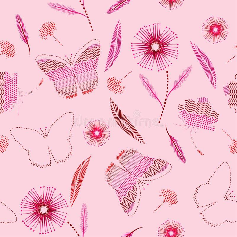 Γλυκά πεταλούδες και συμένος λουλουδιών υπό εξέταση σημεία Πόλκα χρωμάτων, bru απεικόνιση αποθεμάτων