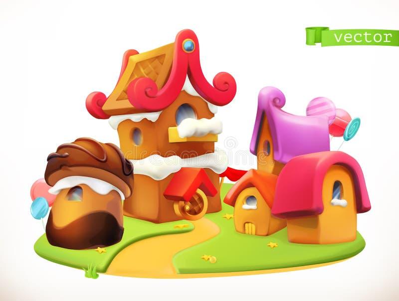 Γλυκά σπίτια τρισδιάστατο διανυσματικό εικονίδιο διανυσματική απεικόνιση