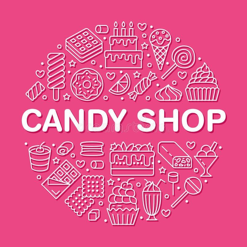 Γλυκά τρόφιμα γύρω από την αφίσα με τα επίπεδα εικονίδια γραμμών Διανυσματικές απεικονίσεις ζύμης - lollipop, φραγμός σοκολάτας,  ελεύθερη απεικόνιση δικαιώματος
