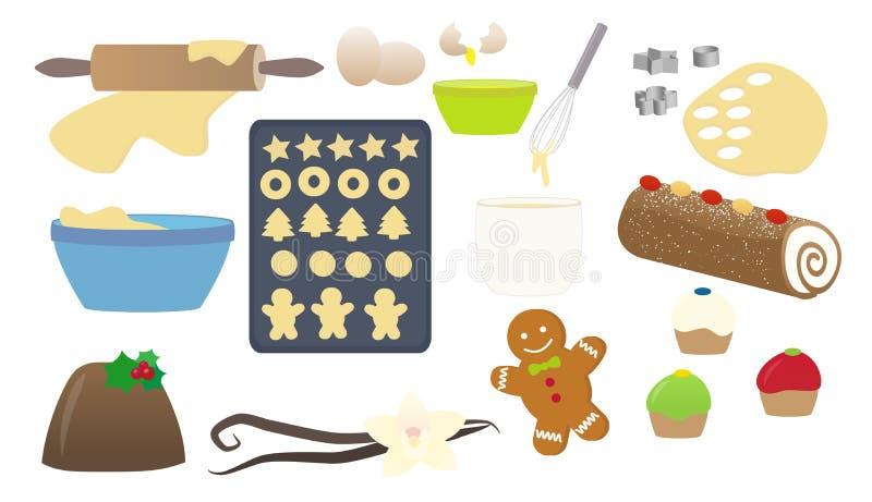 Γλυκά Χριστουγέννων που μαγειρεύουν την απομονωμένη συλλογή διανυσματική απεικόνιση