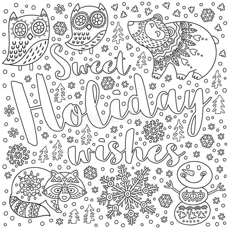 Γλυκές επιθυμίες διακοπών Κάρτα Χριστουγέννων μελανιού με το κείμενο και διακοσμητικά φανταχτερά ζώα στο χιόνι Διανυσματική απεικ διανυσματική απεικόνιση