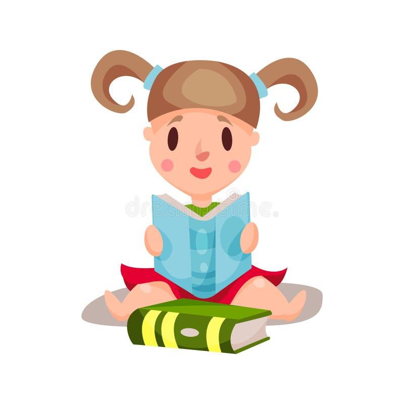 Γλυκές συνεδρίαση και ανάγνωση μικρών κοριτσιών μια έννοια βιβλίων, εκπαίδευσης και γνώσης, ζωηρόχρωμη απεικόνιση χαρακτήρα ελεύθερη απεικόνιση δικαιώματος