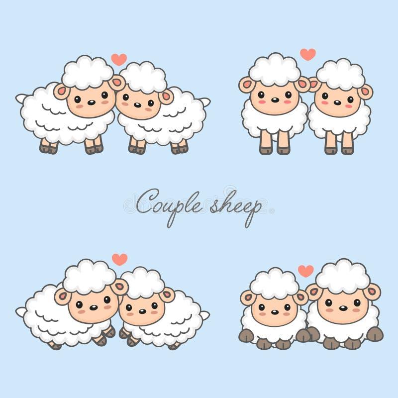 Γλυκιά διανυσματική απεικόνιση κινούμενων σχεδίων ζώων ζευγών Χαριτωμένα πρόβατα ερωτευμένα με την καρδιά ελεύθερη απεικόνιση δικαιώματος