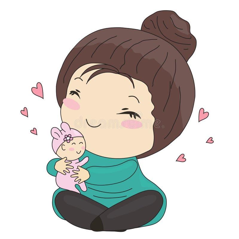Γλυκιά μητέρα και το μωρό της διανυσματική απεικόνιση