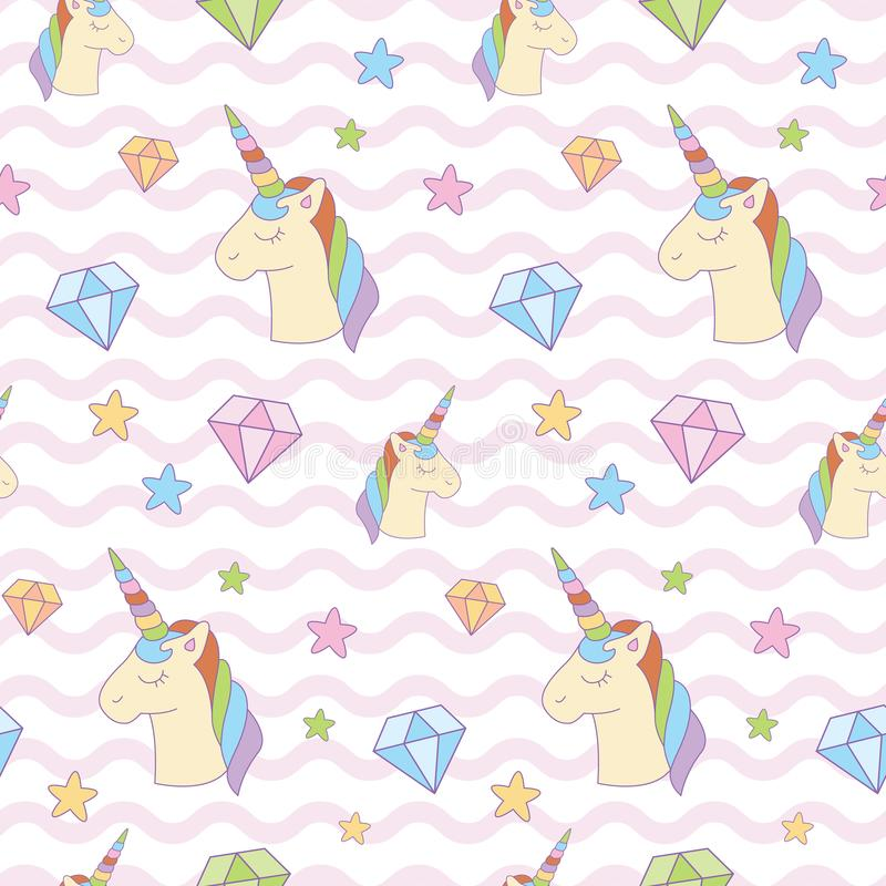 Γλυκός μαγικός μονόκερος, διαμάντι, αστέρι στο υπόβαθρο κυμάτων στοκ φωτογραφίες