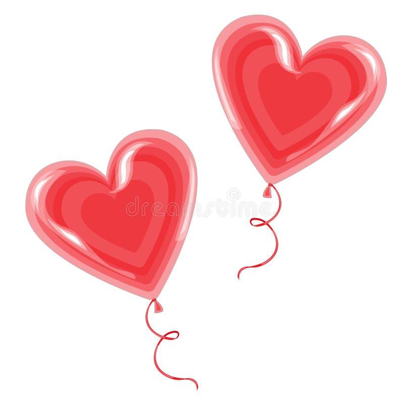 Γλυκός μεταχειριστείτε σε ένα ραβδί Δύο κόκκινες καραμέλες με μορφή μιας καρδιάς, που επιδένεται με την κορδέλλα Δώρο ημέρας βαλε απεικόνιση αποθεμάτων