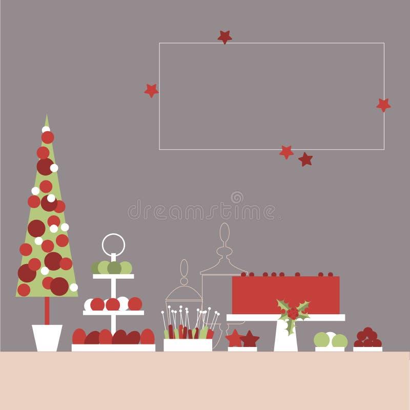 Γλυκός πίνακας Χριστουγέννων με το κέικ και τα γλυκά Μπουφές καραμελών διάνυσμα ελεύθερη απεικόνιση δικαιώματος