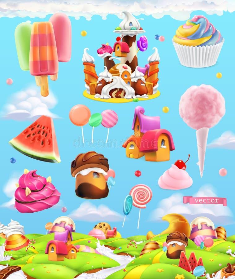Γλυκό έδαφος καραμελών, υπόβαθρο παιχνιδιών κινούμενων σχεδίων E διανυσματική απεικόνιση
