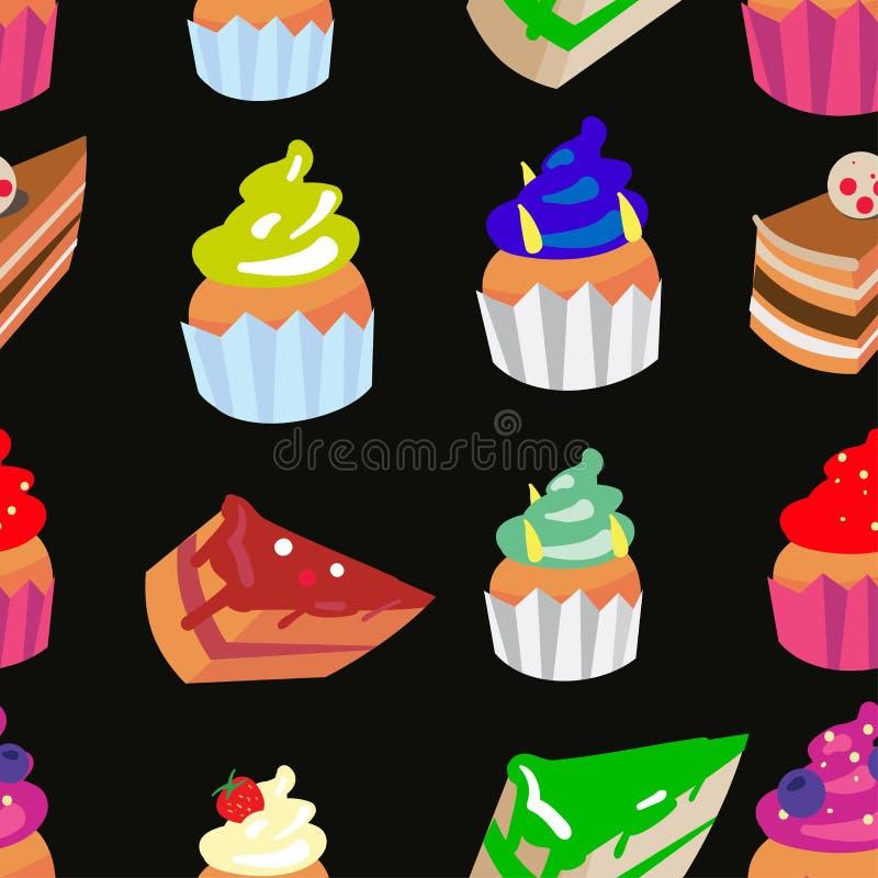Γλυκό διανυσματικό άνευ ραφής σχέδιο βιομηχανιών ζαχαρωδών προϊόντων με διαφορετικό που χρωματίζεται cupcakes και τα κέικ ελεύθερη απεικόνιση δικαιώματος