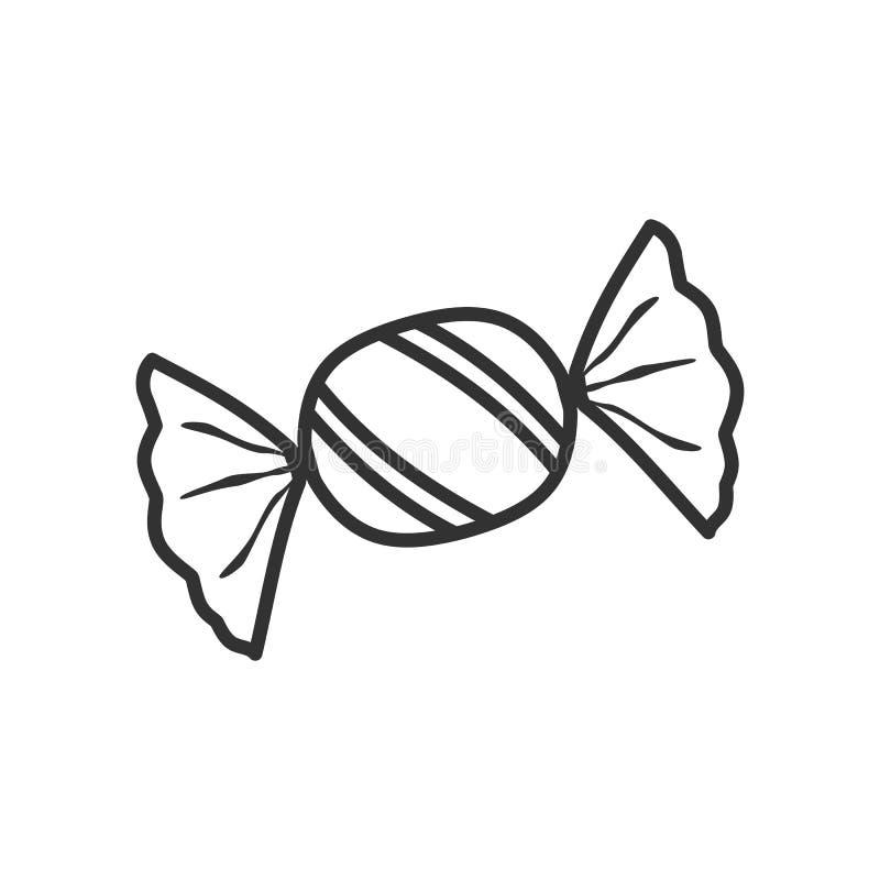 Γλυκό επίπεδο εικονίδιο περιλήψεων καραμελών στο λευκό διανυσματική απεικόνιση