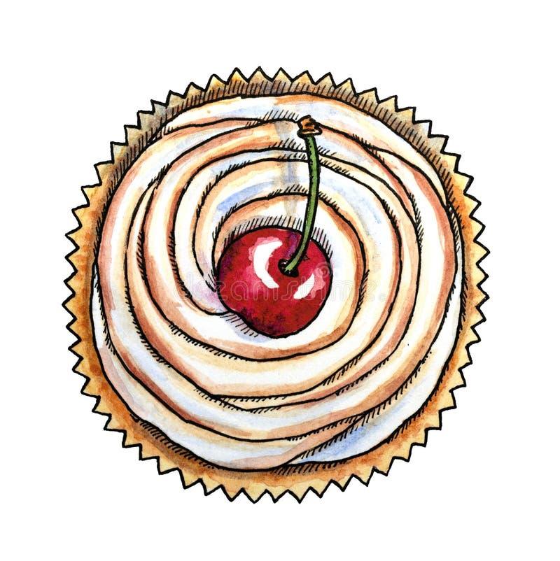 Γλυκό επιδόρπιο, κεράσι cupcake, συρμένο χέρι watercolor διανυσματική απεικόνιση