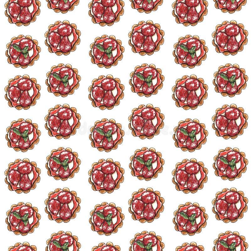 Γλυκό επιδόρπιο, cupcake με τη φράουλα, άνευ ραφής σχέδιο απεικόνιση αποθεμάτων