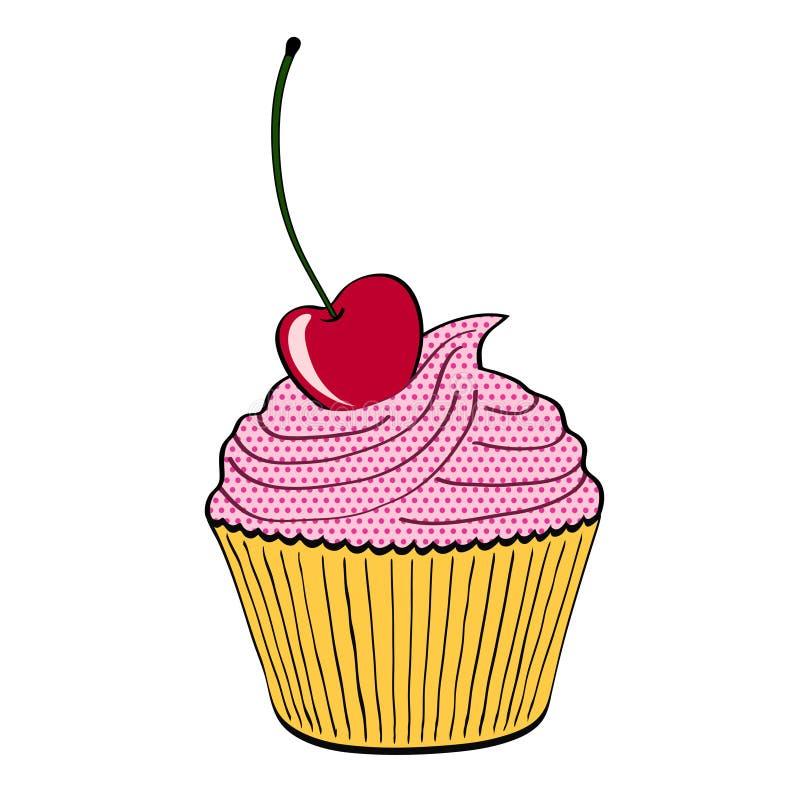 Γλυκό επιδόρπιο cupcake με το κεράσι στο λευκό στο ύφος κινούμενων σχεδίων, sto ελεύθερη απεικόνιση δικαιώματος