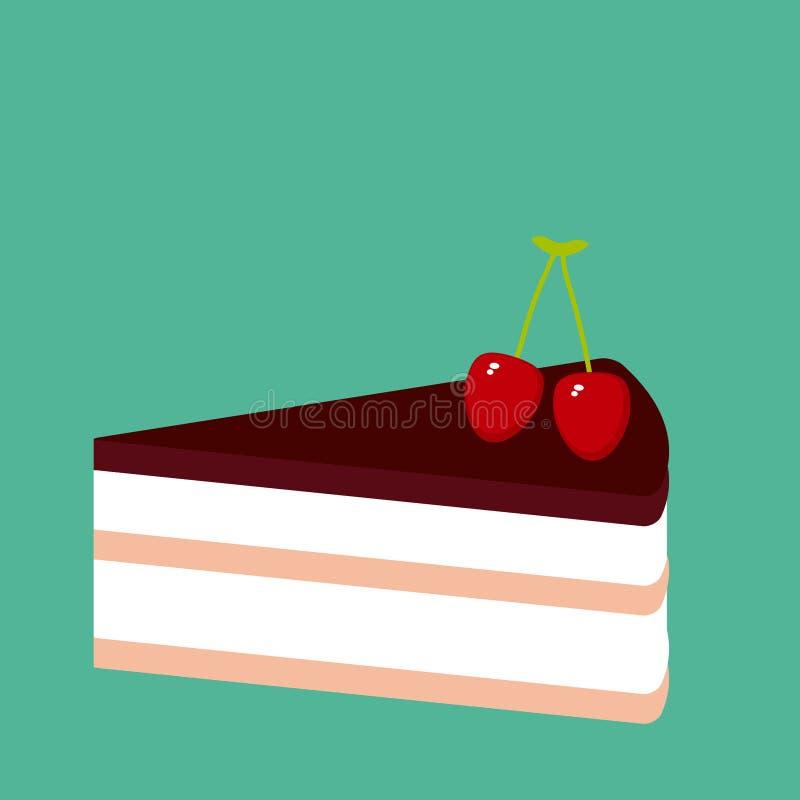 Γλυκό κέικ πιτών κερασιών που διακοσμείται με το φρέσκες μούρο, την κρέμα και την τήξη, κομμάτι του κέικ, χρώματα κρητιδογραφιών  ελεύθερη απεικόνιση δικαιώματος