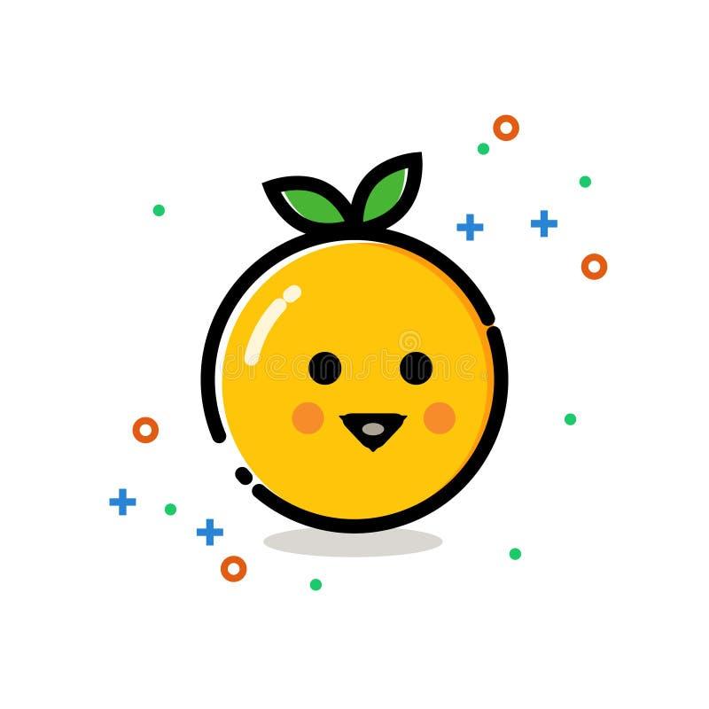 Γλυκό και χαριτωμένο πορτοκαλί εικονίδιο με το χαμόγελο στο πρόσωπο στοκ εικόνα με δικαίωμα ελεύθερης χρήσης