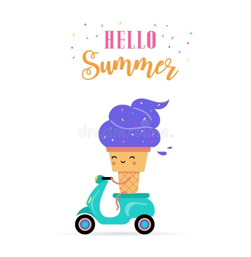 Γλυκό καλοκαίρι - ο χαριτωμένος χαρακτήρας παγωτού κάνει τη διασκέδαση διανυσματική απεικόνιση