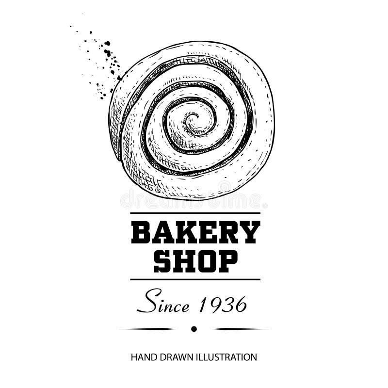 Αφίσα καταστημάτων αρτοποιείων Γλυκό κουλούρι κανέλας ζύμης τοπ άποψης Συρμένη χέρι διανυσματική απεικόνιση ύφους σκίτσων που απο ελεύθερη απεικόνιση δικαιώματος