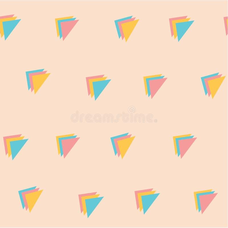 Γλυκό κρητιδογραφιών άνευ ραφής υπόβαθρο σχεδίων τριγώνων χρώματος τριπλό ελεύθερη απεικόνιση δικαιώματος