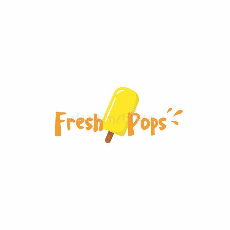 Γλυκό λογότυπο παγωτού Popsicle, σημάδι, εικονίδιο, επίπεδο σχέδιο, σχέδιο Vetor απεικόνιση αποθεμάτων
