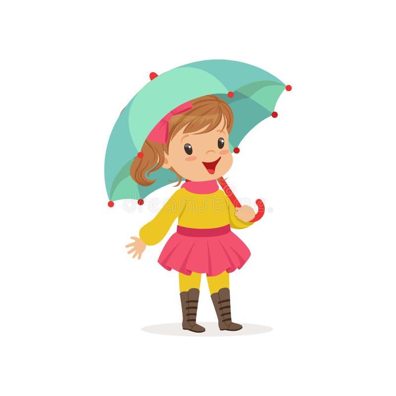 Γλυκό μικρό κορίτσι στο θερμό ιματισμό που περπατά με την ομπρέλα, χαριτωμένο παιδί που απολαμβάνει την πτώση, διάνυσμα δραστηριό απεικόνιση αποθεμάτων