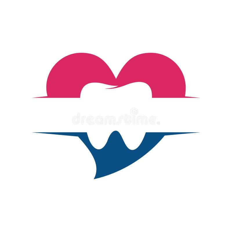 Γλυκό οδοντικό πρότυπο λογότυπων προσοχής δοντιών αγάπης διανυσματική απεικόνιση