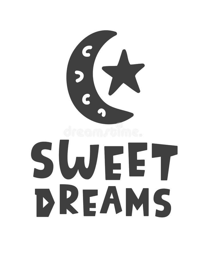 γλυκό ονείρων Σκανδιναβικά παιδιά ύφους που γράφουν τη φράση διανυσματική απεικόνιση