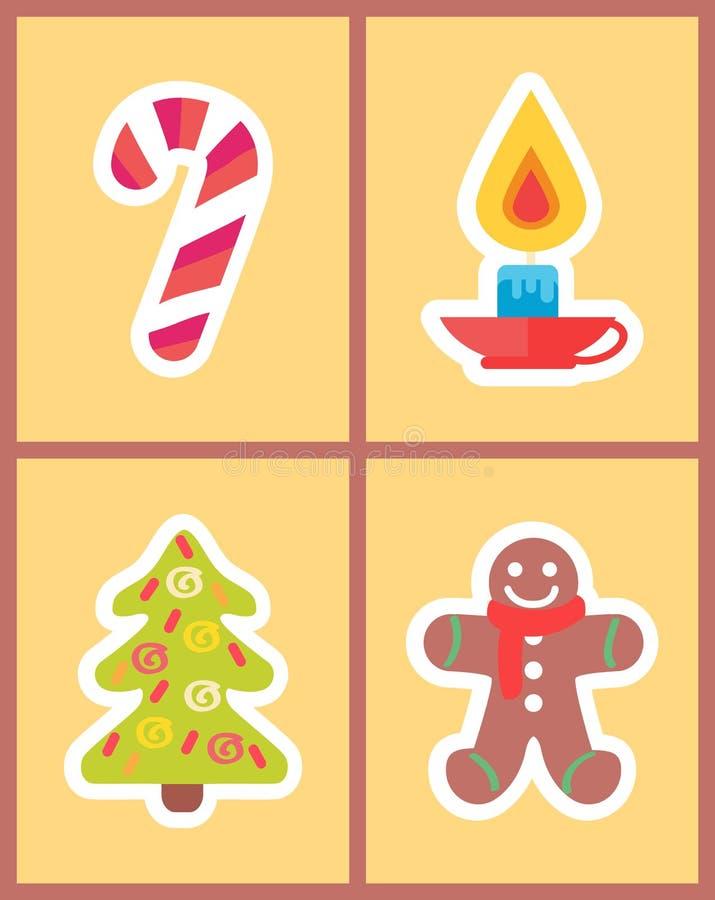 Γλυκό ραβδί καραμελών, καίγοντας κερί, νέο δέντρο έτους διανυσματική απεικόνιση