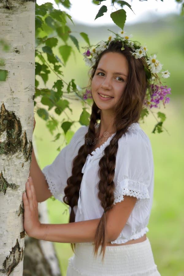 Γλυκό ρωσικό κορίτσι κοριτσιών σε μια άσπρη σημύδα το καλοκαίρι, με ένα στεφάνι στο κεφάλι και τις μαργαρίτες της στοκ φωτογραφία με δικαίωμα ελεύθερης χρήσης