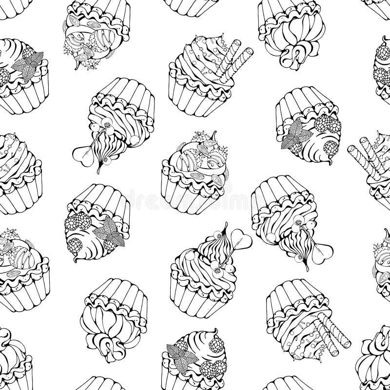 Γλυκό σκίτσο σχεδίων καλαθιών ελεύθερη απεικόνιση δικαιώματος