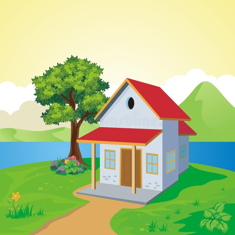Γλυκό σπίτι κινούμενων σχεδίων, με το τοπίο διανυσματική απεικόνιση
