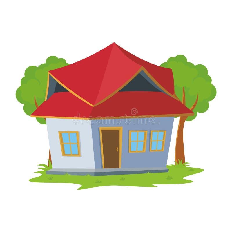 Γλυκό σπίτι κινούμενων σχεδίων, χαριτωμένο και νέο σχέδιο διανυσματική απεικόνιση