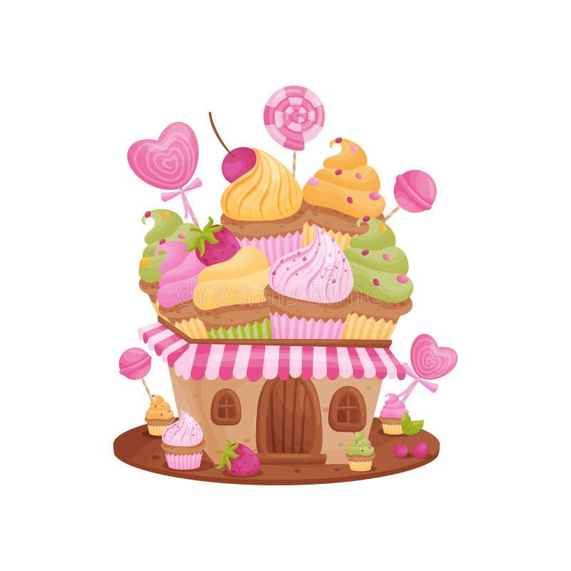 Γλυκό σπίτι με ένα ριγωτό γείσο E διανυσματική απεικόνιση